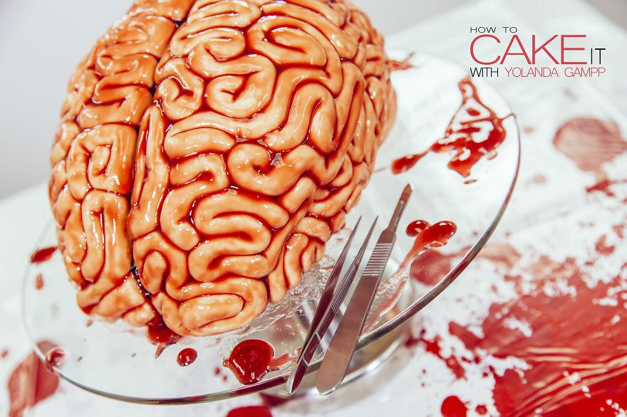 How To Make A Red Velvet Brain Cake For Halloween With Yolanda Gampp