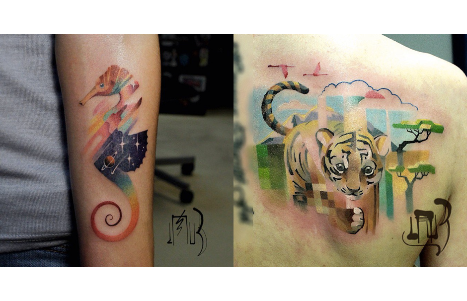 Pixelated Animal Tattoos By Lesha Lauz