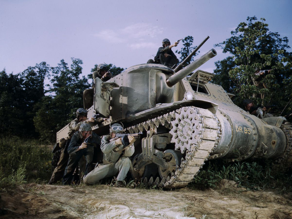 Life at Fort Knox in 1942 - 7. An M3 tank crew practices small arms fire.